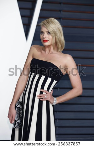 LOS ANGELES - FEB 22:  Margot Robbie at the Vanity Fair Oscar Party 2015 at the Wallis Annenberg Center for the Performing Arts on February 22, 2015 in Beverly Hills, CA - stock photo