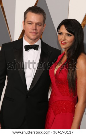 LOS ANGELES - FEB 28:  Matt Damon, Luciana Barroso at the 88th Annual Academy Awards - Arrivals at the Dolby Theater on February 28, 2016 in Los Angeles, CA - stock photo