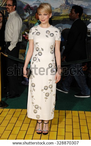 LOS ANGELES - FEB 13 - Michelle Williams arrives at the Oz The Great and Powerful World Premiere on February 13, 2013 in Los Angeles, CA              - stock photo