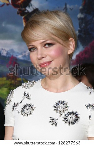 LOS ANGELES - FEB 13:  Michelle Williams at the 'Oz THe Great and Powerful!'  World Premiere at the El Capitan Theater on February 13, 2013 in Los Angeles, CA - stock photo