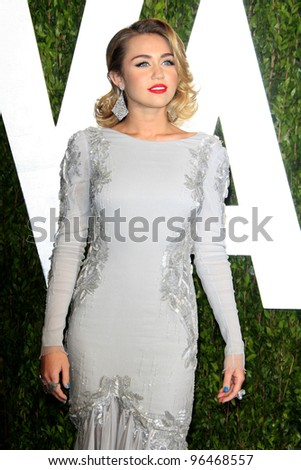 LOS ANGELES - FEB 26:  Miley Cyrus arrives at the 2012 Vanity Fair Oscar Party  at the Sunset Tower on February 26, 2012 in West Hollywood, CA - stock photo