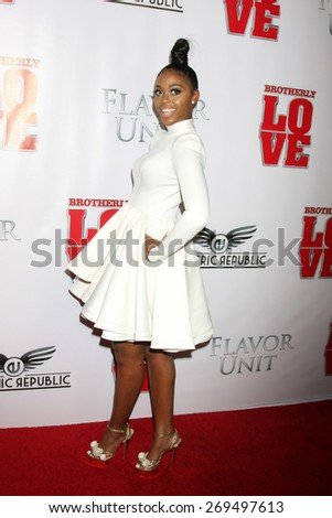 "LOS ANGELES - FEB 13:  Nafessa Williams at the ""Brotherly Love"" LA Premiere at the Silver Screen Theater at the Pacific Design Center on April 13, 2015 in West Hollywood, CA - stock photo"