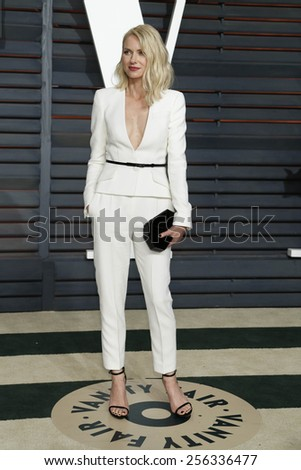 LOS ANGELES - FEB 22:  Naomi Watts at the Vanity Fair Oscar Party 2015 at the Wallis Annenberg Center for the Performing Arts on February 22, 2015 in Beverly Hills, CA - stock photo