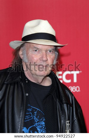 LOS ANGELES - FEB 10:  Neil Young arrives at the 2012 MusiCares Gala honoring Paul McCartney at LA Convention Center on February 10, 2012 in Los Angeles, CA - stock photo