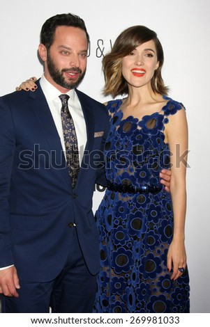 """LOS ANGELES - FEB 15:  Nick Kroll, Rose Byrne at the """"Adult Beginners"""" Los Angeles Premiere at the ArcLight Hollywood Theaters on April 15, 2015 in Los Angeles, CA - stock photo"""