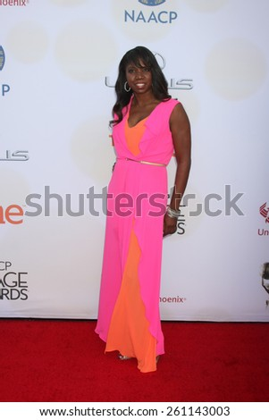 LOS ANGELES - FEB 6:  Nicki Micheaux at the 46th NAACP Image Awards Arrivals at a Pasadena Convention Center on February 6, 2015 in Pasadena, CA - stock photo