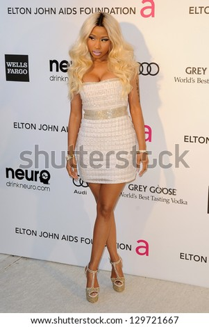 LOS ANGELES - FEB 24:  Nicki Minaj arrives at the Elton John Aids Foundation 21st Academy Awards Viewing Party at the West Hollywood Park on February 24, 2013 in West Hollywood, CA - stock photo