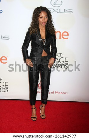 LOS ANGELES - FEB 6:  Nicole Beharie at the 46th NAACP Image Awards Arrivals at a Pasadena Convention Center on February 6, 2015 in Pasadena, CA - stock photo