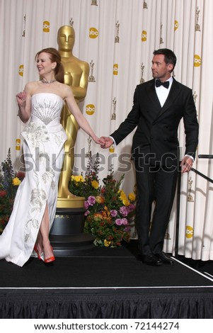 LOS ANGELES -  FEB 27: Nicole Kidman, Hugh Jackman arrive in the Press Room at the 83rd Academy Awards at Kodak Theater, Hollywood & Highland on February 27, 2011 in Los Angeles, CA - stock photo