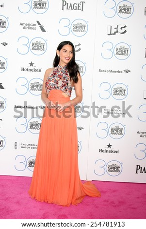 LOS ANGELES - FEB 21:  Olivia Munn at the 30th Film Independent Spirit Awards at a tent on the beach on February 21, 2015 in Santa Monica, CA - stock photo