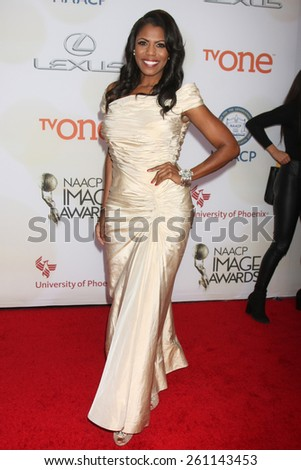 LOS ANGELES - FEB 6:  Omarosa Manigault at the 46th NAACP Image Awards Arrivals at a Pasadena Convention Center on February 6, 2015 in Pasadena, CA - stock photo