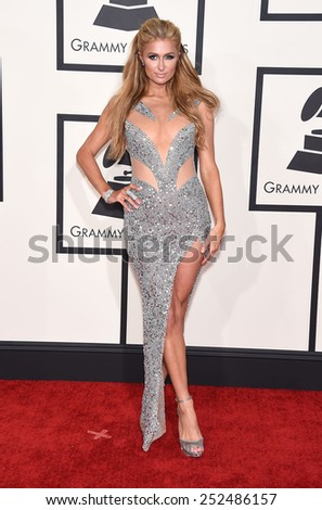 LOS ANGELES - FEB 08:  Paris Hilton arrives to the Grammy Awards 2015  on February 8, 2015 in Los Angeles, CA                 - stock photo