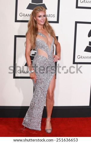 LOS ANGELES - FEB 8:  Paris Hilton at the 57th Annual GRAMMY Awards Arrivals at a Staples Center on February 8, 2015 in Los Angeles, CA - stock photo