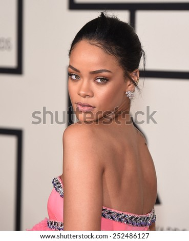 LOS ANGELES - FEB 08:  Rihanna arrives to the Grammy Awards 2015  on February 8, 2015 in Los Angeles, CA                 - stock photo