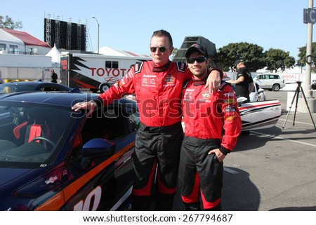 LOS ANGELES - FEB 7:  Robert Patrick, Nathan Kress at the Toyota Grand Prix of Long Beach Pro/Celebrity Race Press Day at the Grand Prix Compound on FEB 7, 2015 in Long Beach, CA - stock photo