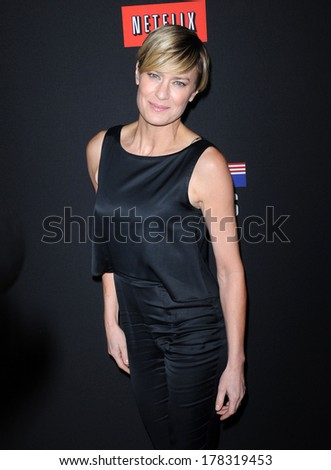 """LOS ANGELES - FEB 13:  Robin Wright the  """"House Of Cards"""" Season 2 Premiere  on February 13, 2014 in West Hollywood, CA                 - stock photo"""