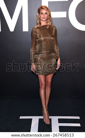 LOS ANGELES - FEB 20:  Rosie Huntington-Whiteley arrives to the Tom Ford Autumn/Winter 2015 Womenswear Collection Presentation  on February 20, 2015 in Hollywood, CA                 - stock photo