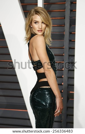 LOS ANGELES - FEB 22:  Rosie Huntington-Whiteley at the Vanity Fair Oscar Party 2015 at the Wallis Annenberg Center for the Performing Arts on February 22, 2015 in Beverly Hills, CA - stock photo