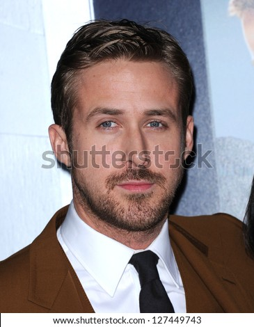 "LOS ANGELES - FEB 05:  Ryan Gosling arrives to the ""Gangster Squad"" Los Angeles Premiere  on January 07, 2013 in Hollywood, CA - stock photo"