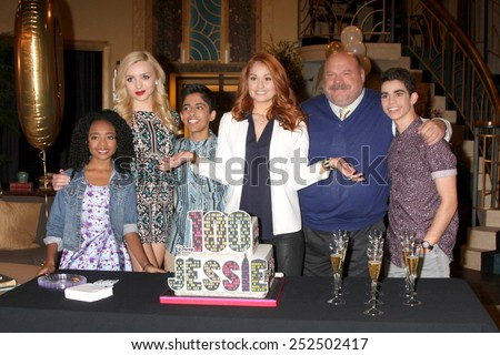 "LOS ANGELES - FEB 12:  S Jackson, Peyton List, Karan Brar, Debby Ryan, K Chamberlin, C Boyce at the ""Jessie"" Celebrates 100 Episodes at Hollywood Center Studios on February 12, 2015 in Los Angeles, CA - stock photo"