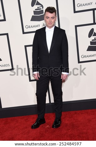 LOS ANGELES - FEB 08:  Sam Smith arrives to the Grammy Awards 2015  on February 8, 2015 in Los Angeles, CA                 - stock photo