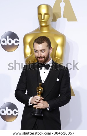 LOS ANGELES - FEB 28:  Sam Smith at the 88th Annual Academy Awards - Press Room at the Dolby Theater on February 28, 2016 in Los Angeles, CA - stock photo