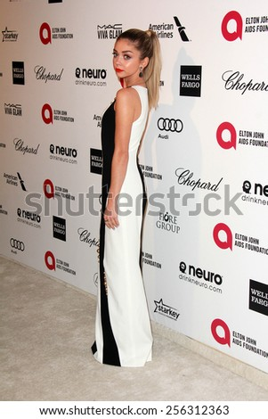 LOS ANGELES - FEB 22:  Sarah Hyland at the Elton John Oscar Party 2015 at the City Of West Hollywood Park on February 22, 2015 in West Hollywood, CA - stock photo