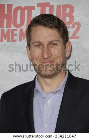LOS ANGELES - FEB 18: Scott Aukerman at the 'Hot Tub Time Machine 2' premiere on February 18, 2014 in Los Angeles, California - stock photo