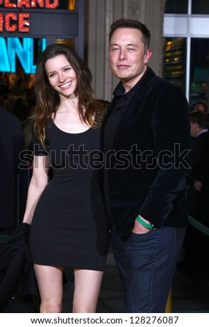 LOS ANGELES - FEB 13:  Talulah Riley, Elon Musk at the 'Oz THe Great and Powerful!'  World Premiere at the El Capitan Theater on February 13, 2013 in Los Angeles, CA - stock photo