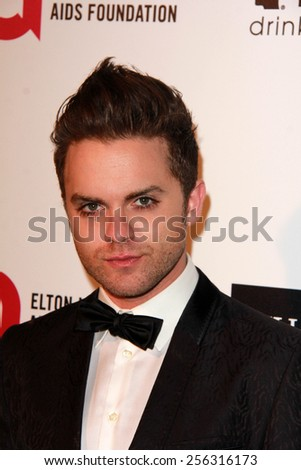 LOS ANGELES - FEB 22:  Thomas Dekker at the Elton John Oscar Party 2015 at the City Of West Hollywood Park on February 22, 2015 in West Hollywood, CA - stock photo