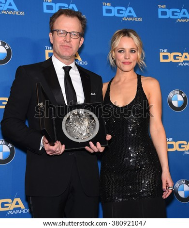 LOS ANGELES - FEB 06:  Tom McCarthy & Rachel McAdams arrives to the Directors Guild Awards 2016  on February 06, 2016 in Century City, CA.                 - stock photo