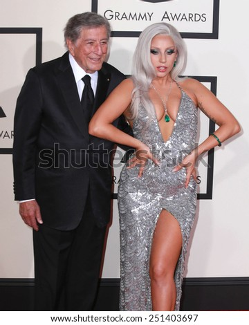 LOS ANGELES - FEB 8:  Tony Bennett, Lady Gaga at the 57th Annual GRAMMY Awards Arrivals at a Staples Center on February 8, 2015 in Los Angeles, CA - stock photo