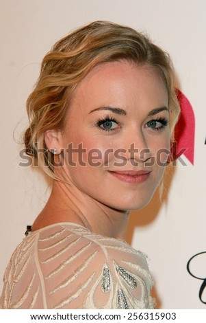 LOS ANGELES - FEB 22:  Yvonne Strahovski at the Elton John Oscar Party 2015 at the City Of West Hollywood Park on February 22, 2015 in West Hollywood, CA - stock photo
