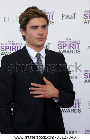 LOS ANGELES - FEB 25:  Zac Efron arrives at the 2012 Film Independent Spirit Awards at the Beach on February 25, 2012 in Santa Monica, CA - stock photo