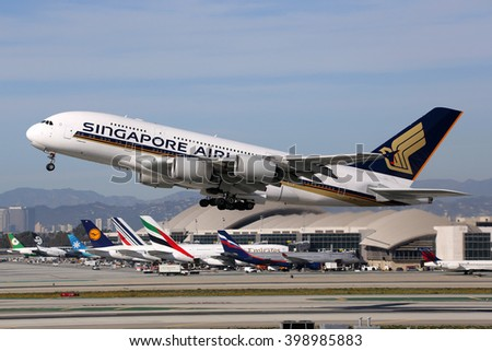 LOS ANGELES - FEBRUARY 22: A Singapore Airlines Airbus A380 taking off on February 22, 2016 in Los Angeles. Singapore Airlines is the flag carrier airline of Singapore. - stock photo