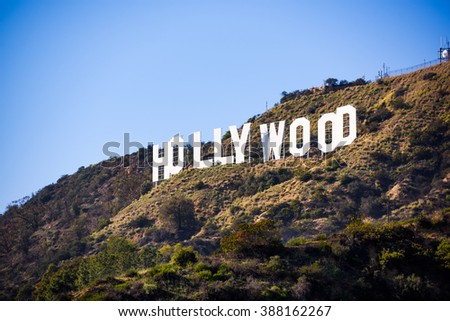 LOS ANGELES - FEBRUARY 29, 2016: The Hollywood sign on Mt. Lee. The iconic sign was originally created in 1923. - stock photo
