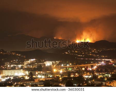Los Angeles Fire Near the City - stock photo