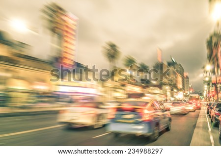 Los Angeles - Hollywood Boulevard before sunset - Walk of Fame on a blurred vintage filtered look - stock photo