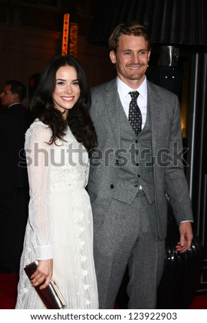 LOS ANGELES - JAN 7:  Abigail Spencer, Josh Pence arrives at the 'Gangster Squad' Premiere at Graumans Chinese Theater on January 7, 2013 in Los Angeles, CA - stock photo