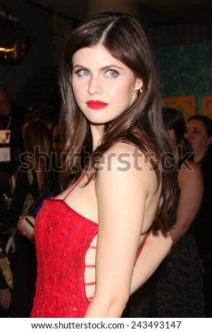 LOS ANGELES - JAN 11:  Alexandra Daddario at the HBO Post Golden Globe Party at a Circa 55, Beverly Hilton Hotel on January 11, 2015 in Beverly Hills, CA - stock photo