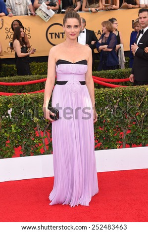 LOS ANGELES - JAN 25:  Amanda Peet arrives to the 21st Annual Screen Actors Guild Awards  on January 25, 2015 in Los Angeles, CA                 - stock photo