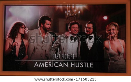 "LOS ANGELES - JAN 16:  ""American Hustle"" Nominated Best Picture at the 86th Academy Awards Nominations Announcement  at AMPAS Samuel Goldwyn Theater on January 16, 2014 in Beverly Hills, CA - stock photo"