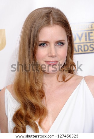 "LOS ANGELES - JAN 10:  Amy Adams arrives to the ""Critic's Choice Awards 2013  on January 10, 2013 in Santa Monica, CA - stock photo"
