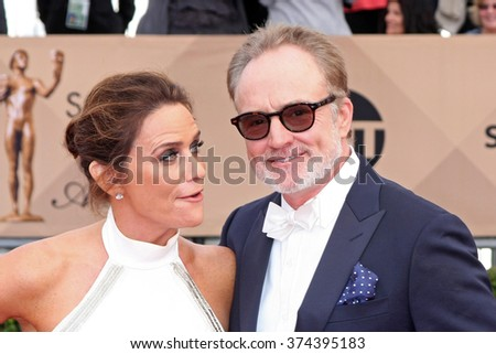 LOS ANGELES - JAN 30:  Amy Landecker, Bradley Whitford at the 22nd Screen Actors Guild Awards at the Shrine Auditorium on January 30, 2016 in Los Angeles, CA - stock photo