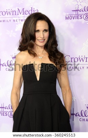 LOS ANGELES - JAN 8:  Andie MacDowell at the Hallmark Winter 2016 TCA Party at the Tournament House on January 8, 2016 in Pasadena, CA - stock photo