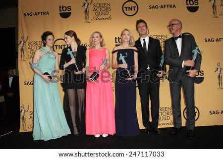 LOS ANGELES - JAN 25: Andrea Riseborough, Emma Stone, Amy Ryan, Naomi Watts, Edward Norton, Michael Keaton at the 2015 SAG Awards at the Shrine Auditorium on January 25, 2015 in Los Angeles, CA - stock photo