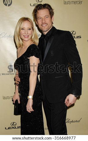LOS ANGELES - JAN 13 - Anne Heche and husband James Tupper arrives at the 2013 Weinstein Company Golden Globes After Party  on January 13, 2013 in Beverly Hills, CA              - stock photo