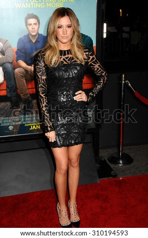 LOS ANGELES - JAN 27:  Ashley Tisdale arrives at the That Awkward Moment Los Angeles Premiere  on January 27, 2014 in Los Angeles, CA                 - stock photo