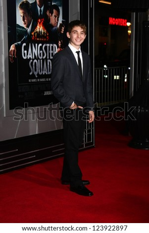 LOS ANGELES - JAN 7:  Austin Abrams arrives at the 'Gangster Squad' Premiere at Graumans Chinese Theater on January 7, 2013 in Los Angeles, CA - stock photo