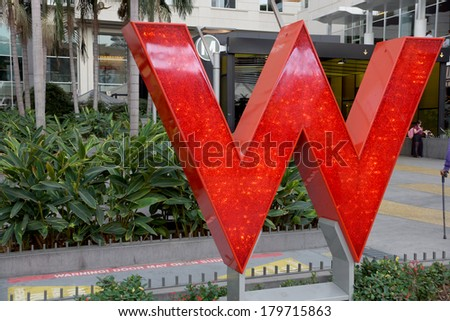 LOS ANGELES - JAN 23: Big Red W of the W Hotel Hollywood on famous Hollywood Boulevard on January 23, 2014 in Los Angeles, CA. - stock photo